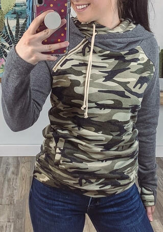 Camouflage Printed Splicing Drawstring Hoodie
