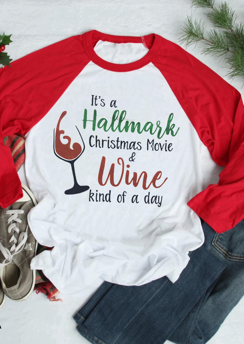 It' A Hallmark Christmas Baseball T-Shirt Tee, White, 429207