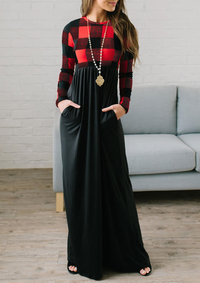 Women's Red Black Plaid Long Sleeves and Red Plaid Top Spliced Black Bottom Color Block Maxi Dress with Pockets in Red. Size: S,L,XL,2XL,3XL фото