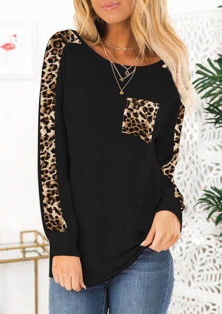 Leopard Printed Pocket T-Shirt Tee without Necklace - Black