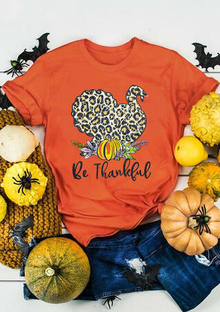 Leopard Printed Turkey Be Thankful  T-Shirt Tee - Brilliant Orange