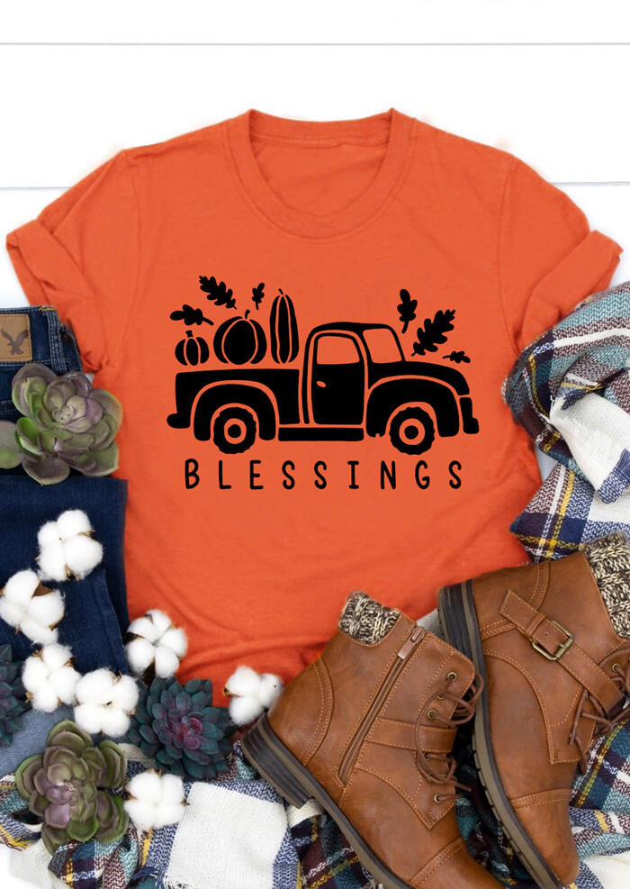 Blessings Car Pumpkin O-Neck T-Shirt Tee – Orange