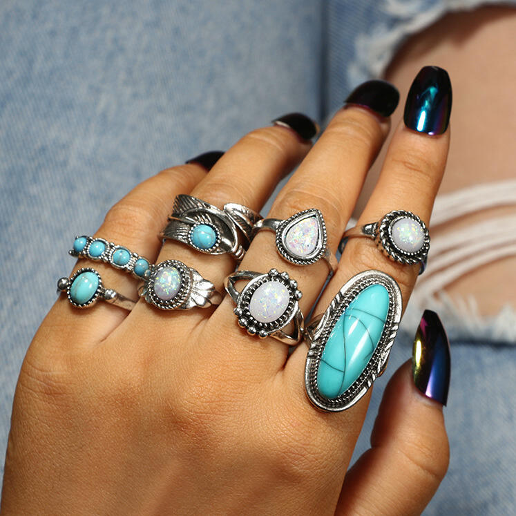 Bohemian Turquoise Bead Ring Set фото