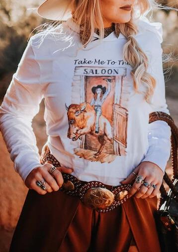Take Me To The Saloon Hoodie – White