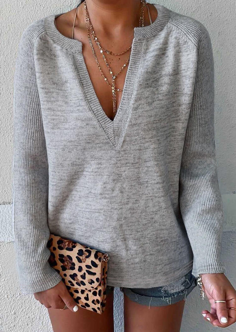Solid V-Neck Knitted Blouse without Necklace – Light Grey
