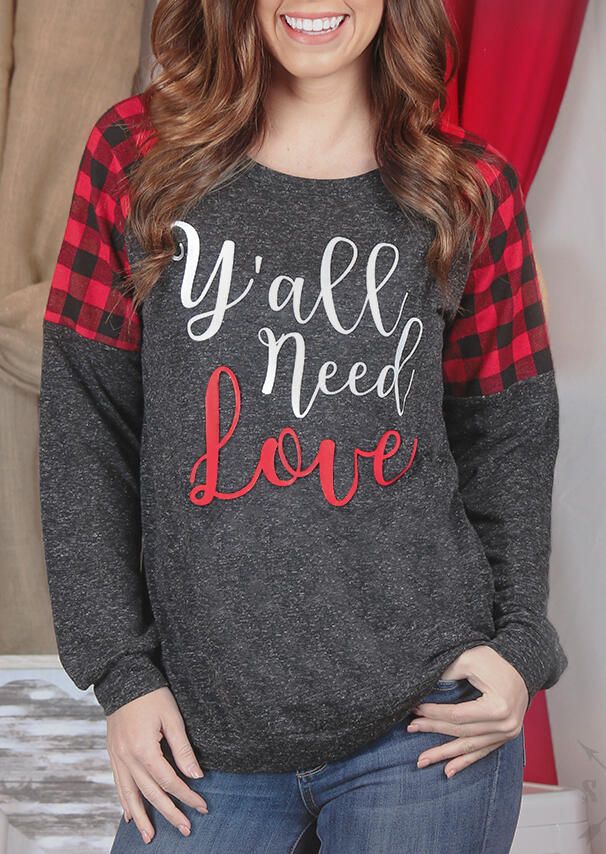 Tees_Tshirts_Yall_Need_Love_Plaid_Splicing_TShirt_Tee___Dark_Grey_Size_SMLXL