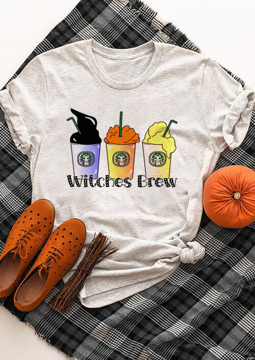 Witches Brew Halloween T-Shirt Tee – Gray