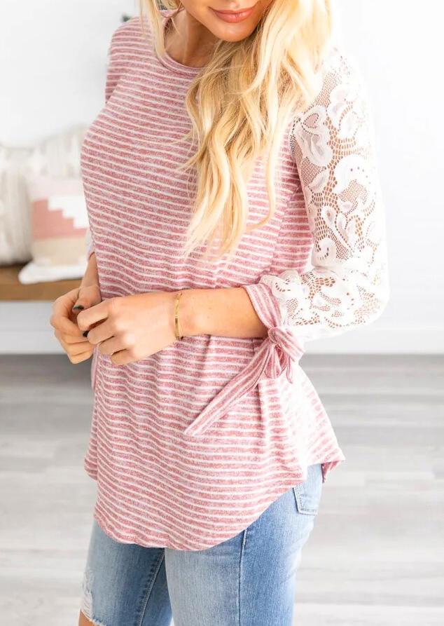 Striped Lace Splicing Asymmetric Blouse – Pink