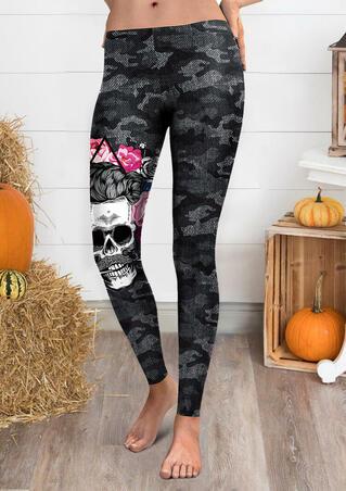 Halloween Camouflage Printed Skull Leggings