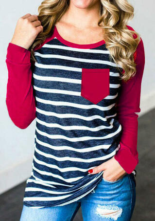 Striped Splicing O-Neck T-Shirt Tee - Red