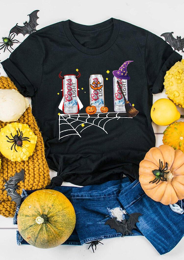 Halloween Pumpkin Coors Light T-Shirt Tee – Black
