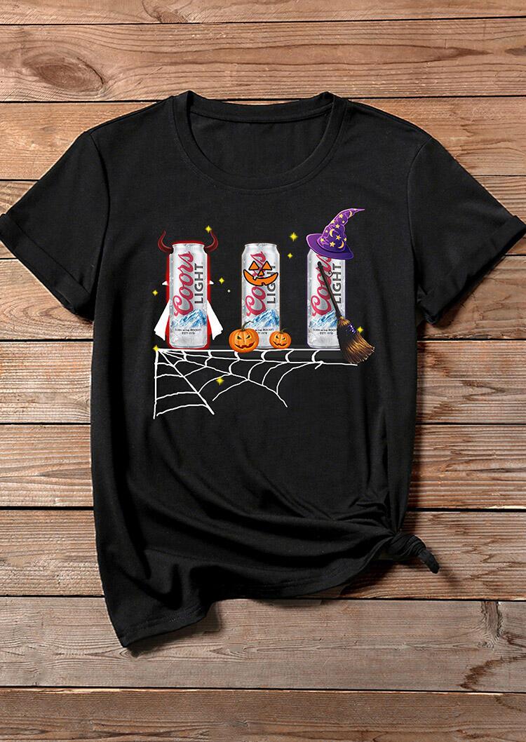 Tees_Tshirts_Halloween_Pumpkin_Coors_Light_TShirt_Tee__Black_Size_SMLXL