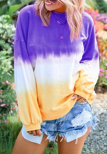 Gradient Color Long Sleeve Blouse without Necklace – Purple