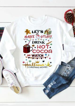 Let's Watch Hallmark Christmas Movies Sweatshirt - White