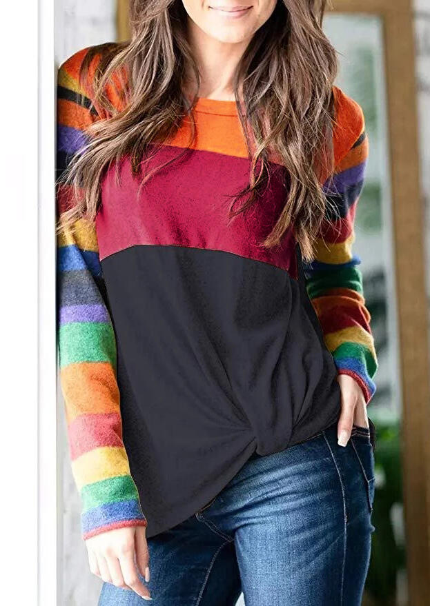 Tees T-shirts Color Block O-Neck T-Shirt Tee in Multicolor. Size: S,M,L,XL фото