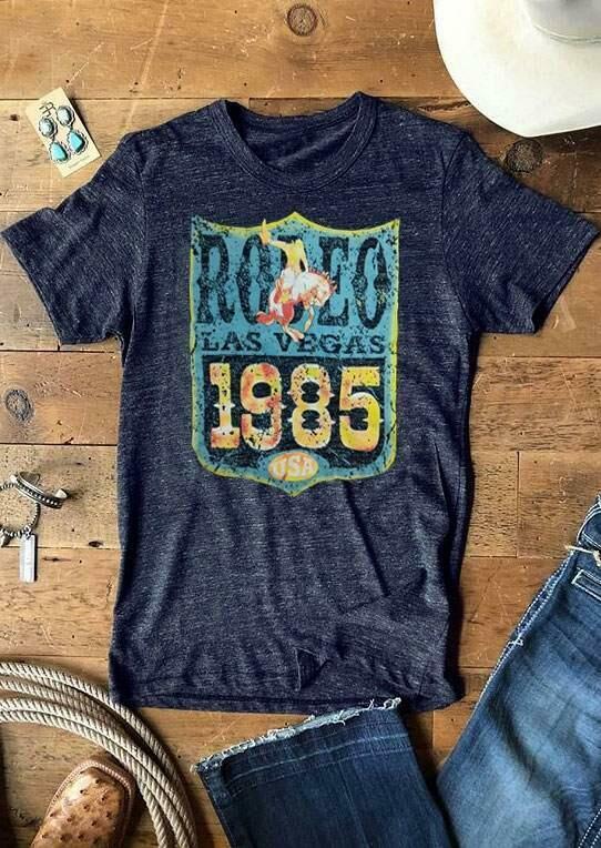 Rodeo Las Vegas 1985 USA T-Shirt – Deep Blue
