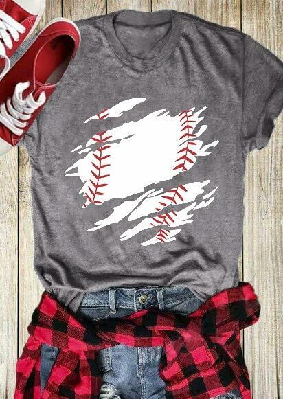 Baseball O-Neck Short Sleeve T-Shirt Tee - Gray фото