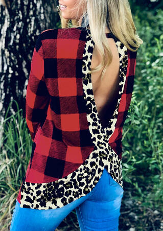 Leopard Printed Plaid Splicing Open Back Blouse - Red