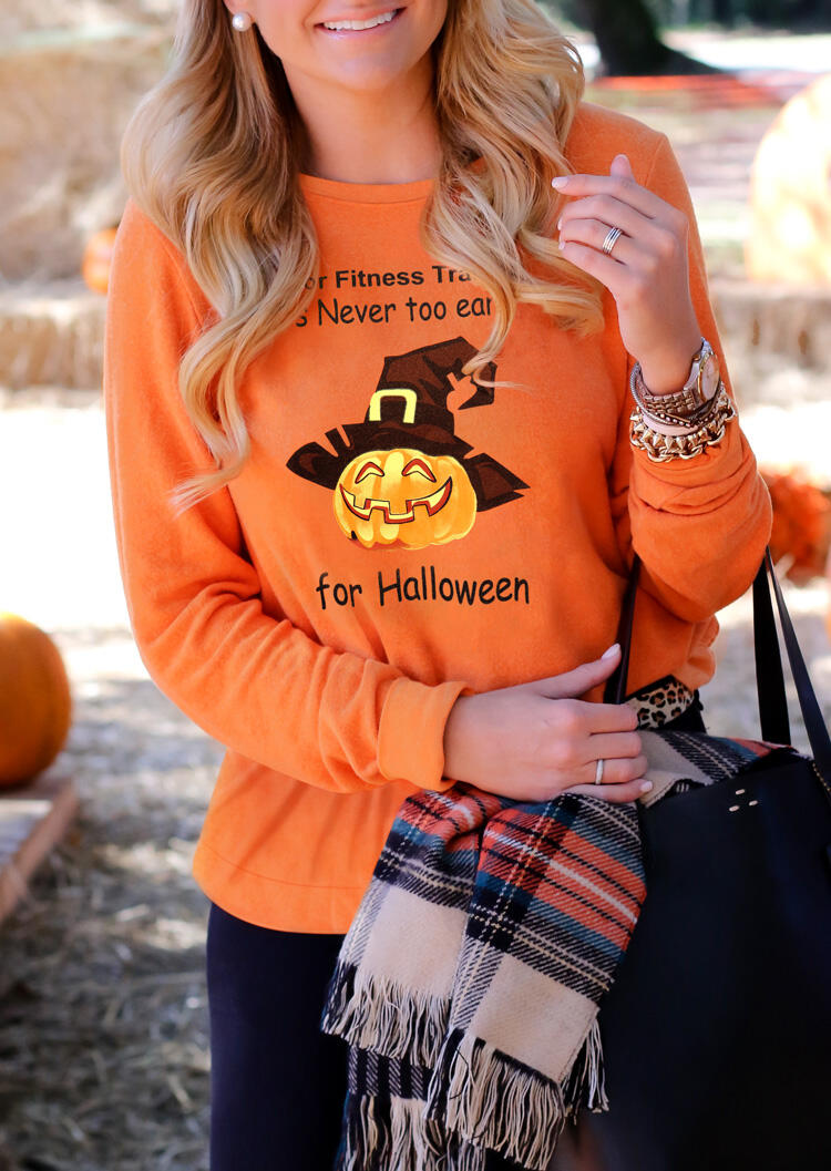 Halloween Pumpkin Face For Fitness Trainer Sweatshirt – Orange