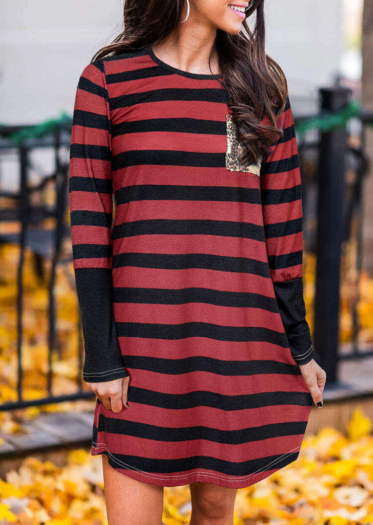Striped Splicing Sequined Casual Dress – Red