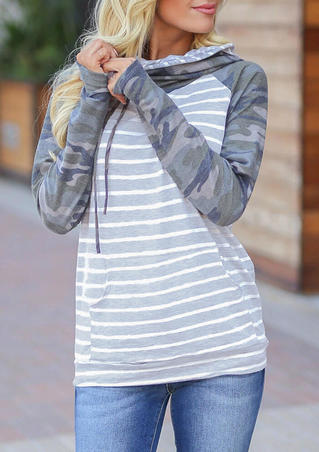 Striped Camouflage Printed Drawstring Kangaroo Pocket Thumbhole Hoodie