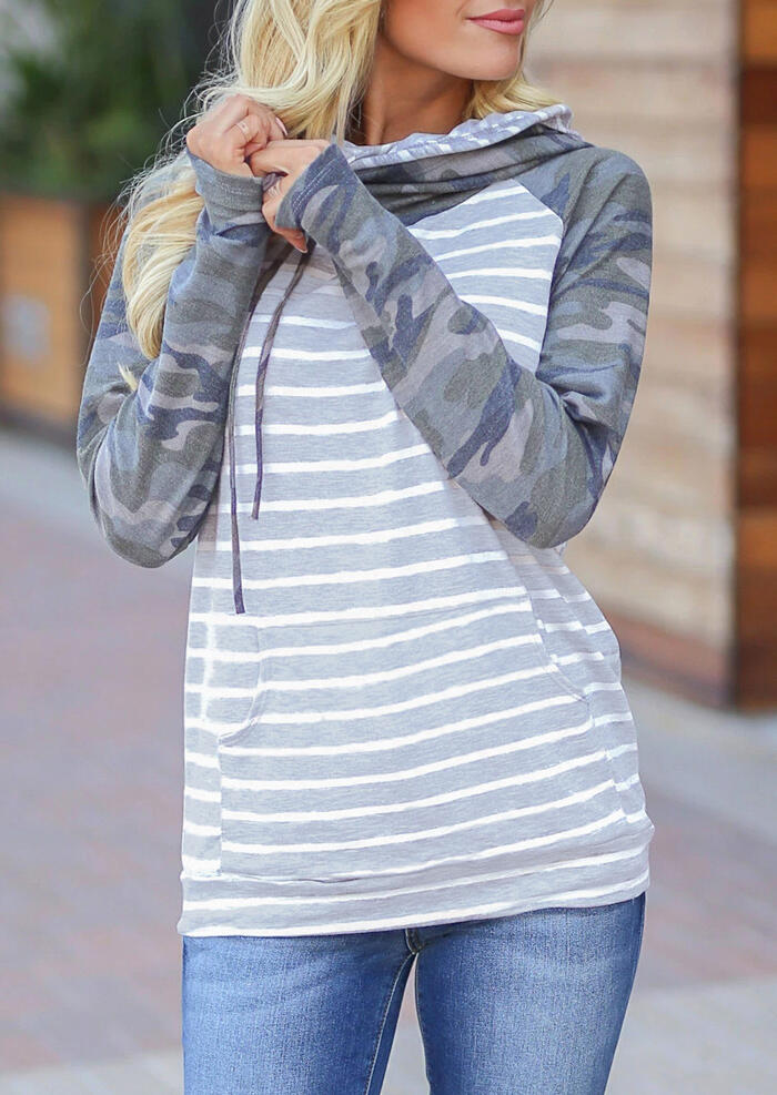 Hoodies Striped Camouflage Drawstring Kangaroo Pocket Thumbhole Hoodie in Stripe. Size: S,M,L,XL фото