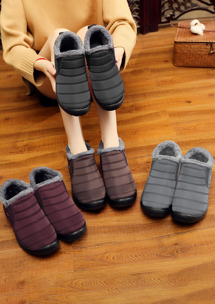 Boots Winter Waterproof Round Toe Flat Warm Ankle Boots in Black,Gray. Size: 39,40,41 фото
