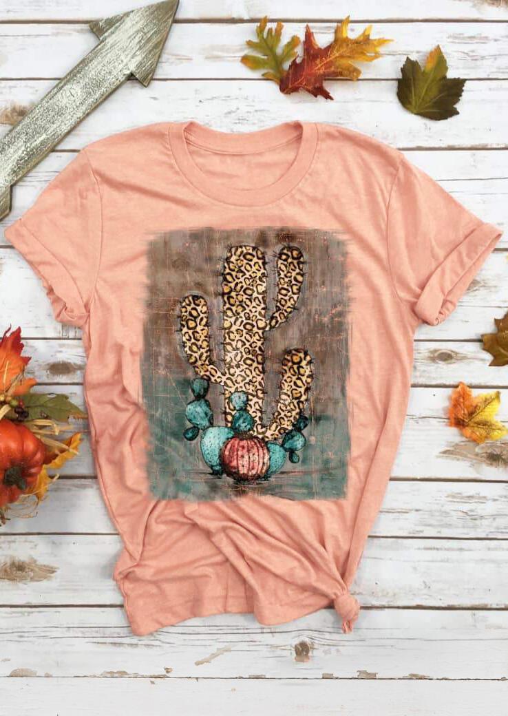 Leopard Printed Cactus T-Shirt Tee - Flesh фото