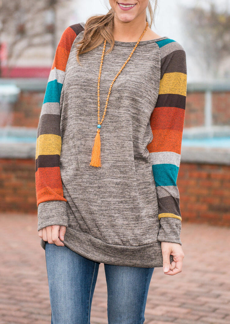Color Block Striped O-Neck Blouse without Necklace – Light Grey