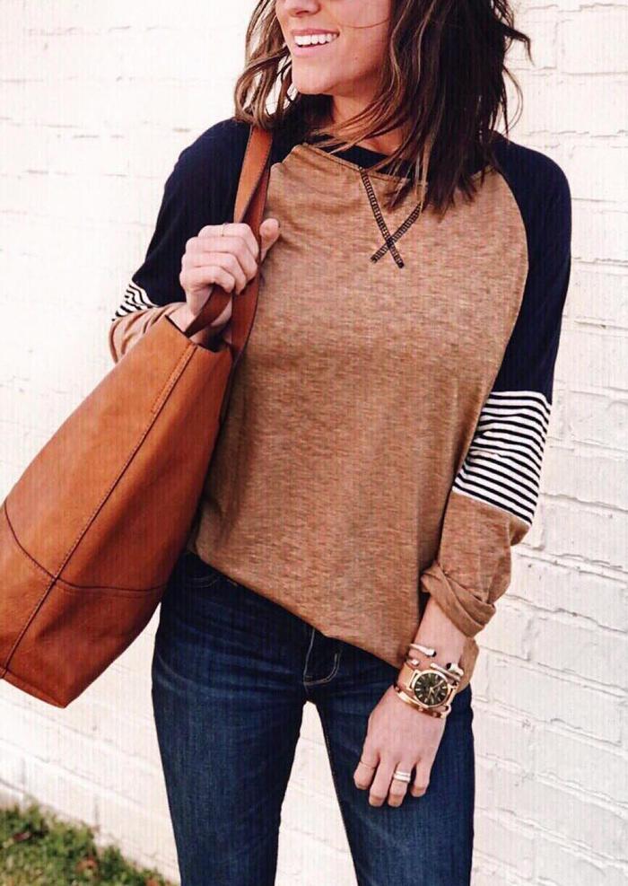 Striped Color Block O-Neck T-Shirt Tee – Khaki