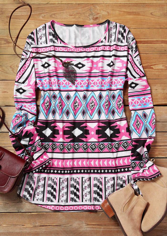 Aztec Geometric Printed O-Neck Blouse – Pink