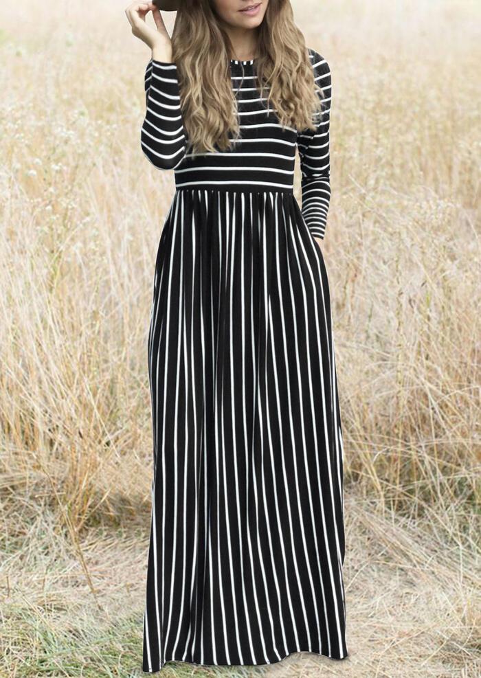 Striped Splicing Pocket Maxi Dress – Black