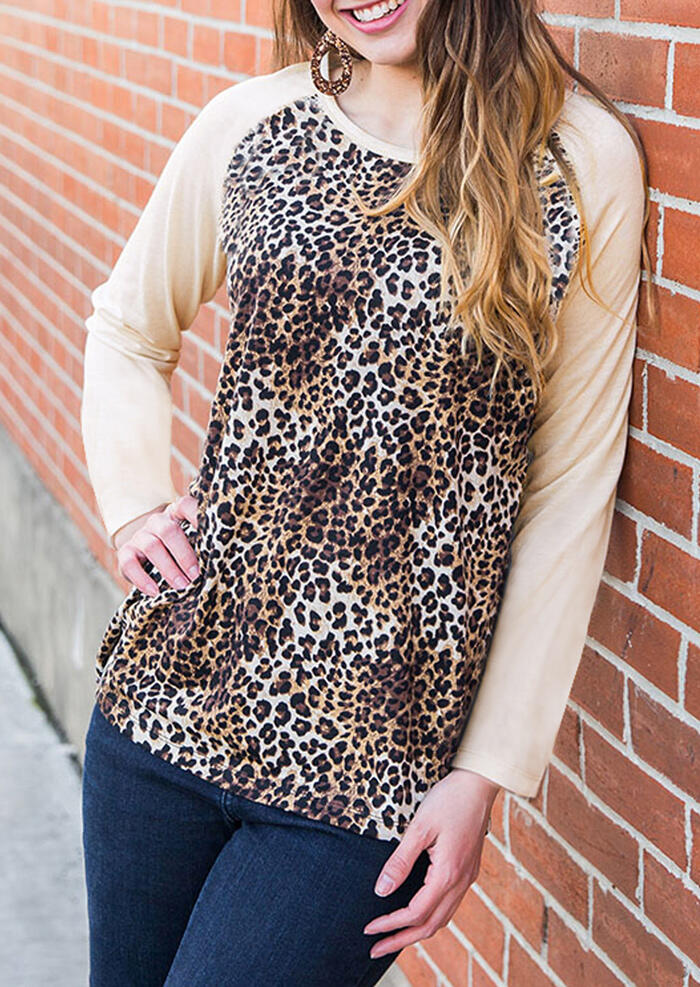 Leopard Printed Splicing T-Shirt Tee – Apricot