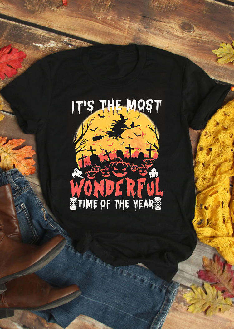 Halloween It's The Most Wonderful Time T-Shirt Tee – Black