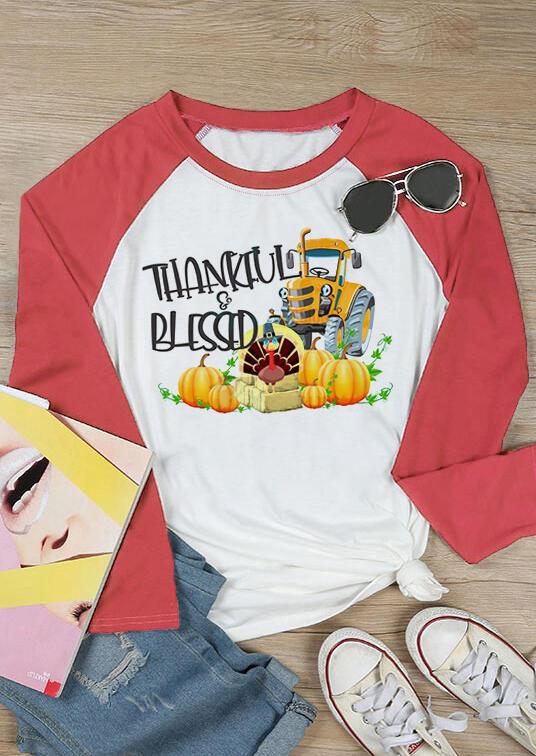 Thankful Blessed Pumpkin T-Shirt Tee – White