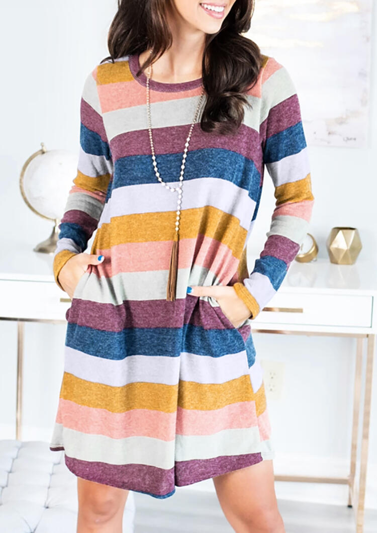 Colorful Striped Pocket Mini Dress without Necklace – Multicolor