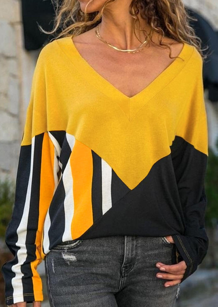 Blouses_Color_Block_Splicing_VNeck_Blouse_without_Necklace__Yellow_Size_SMLXL