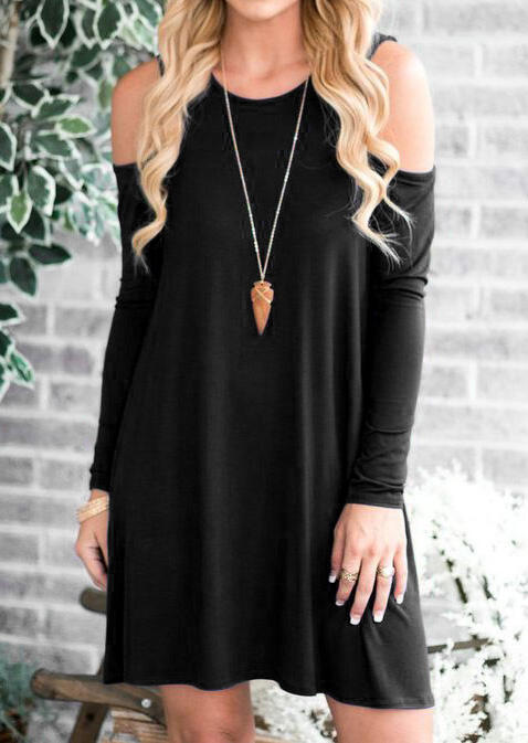 Mini_Dresses_Solid_Cold_Shoulder_Mini_Dress_without_Necklace__Black_Size_SMLXL