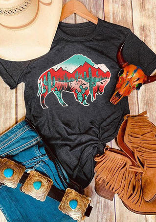 Buffalo Cactus T-Shirt Tee - Dark Grey