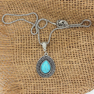 Vintage Turquoise Water Drop Pendant Necklace