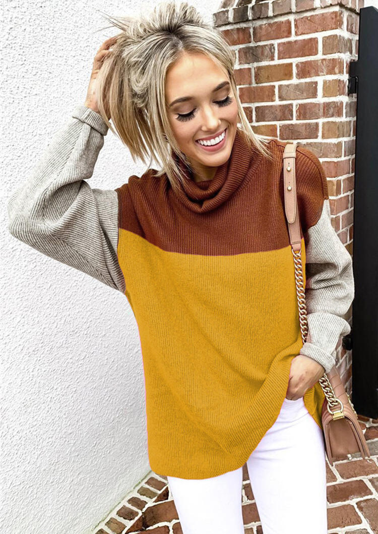 Blouses_Color_Block_Long_Sleeve_Cowl_Neck_Blouse__Yellow_Size_SMLXL