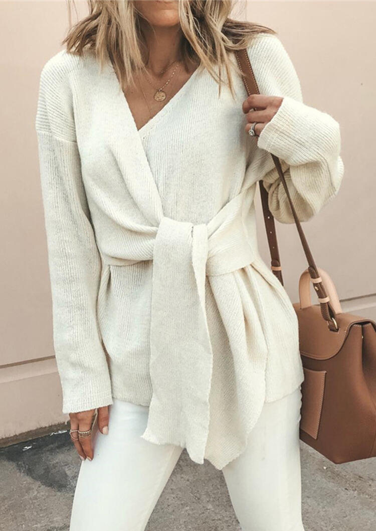 Sweaters_Solid_Bandage_Long_Sleeve_Sweater_without_Necklace__White_Size_SMLXL