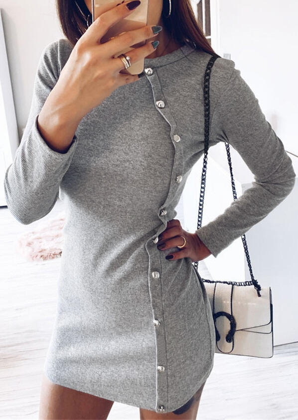 Solid Button Long Sleeve Mini Dress – Gray