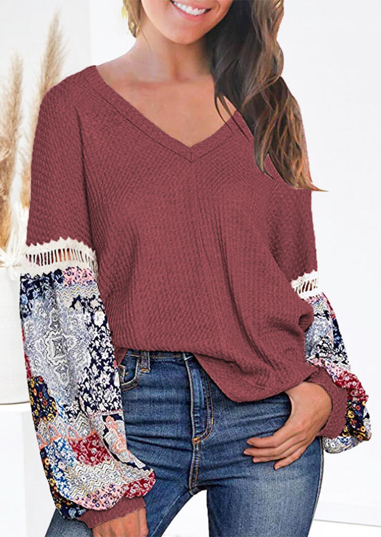 Printed Lace Long Sleeve Blouse – Cameo Brown