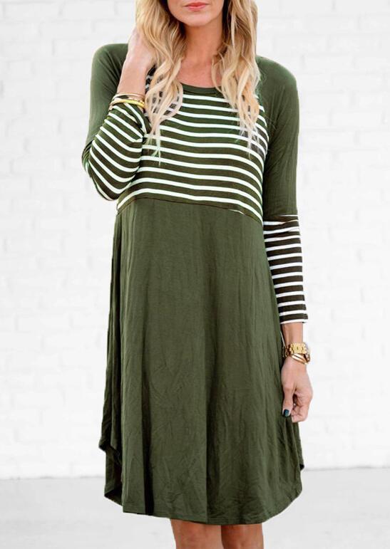 Striped Splicing O-Neck Mini Dress – Army Green