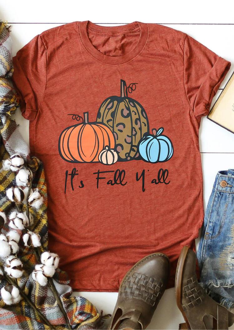 Leopard It's Fall Y'all Pumpkin T-Shirt Tee - Brick Red фото
