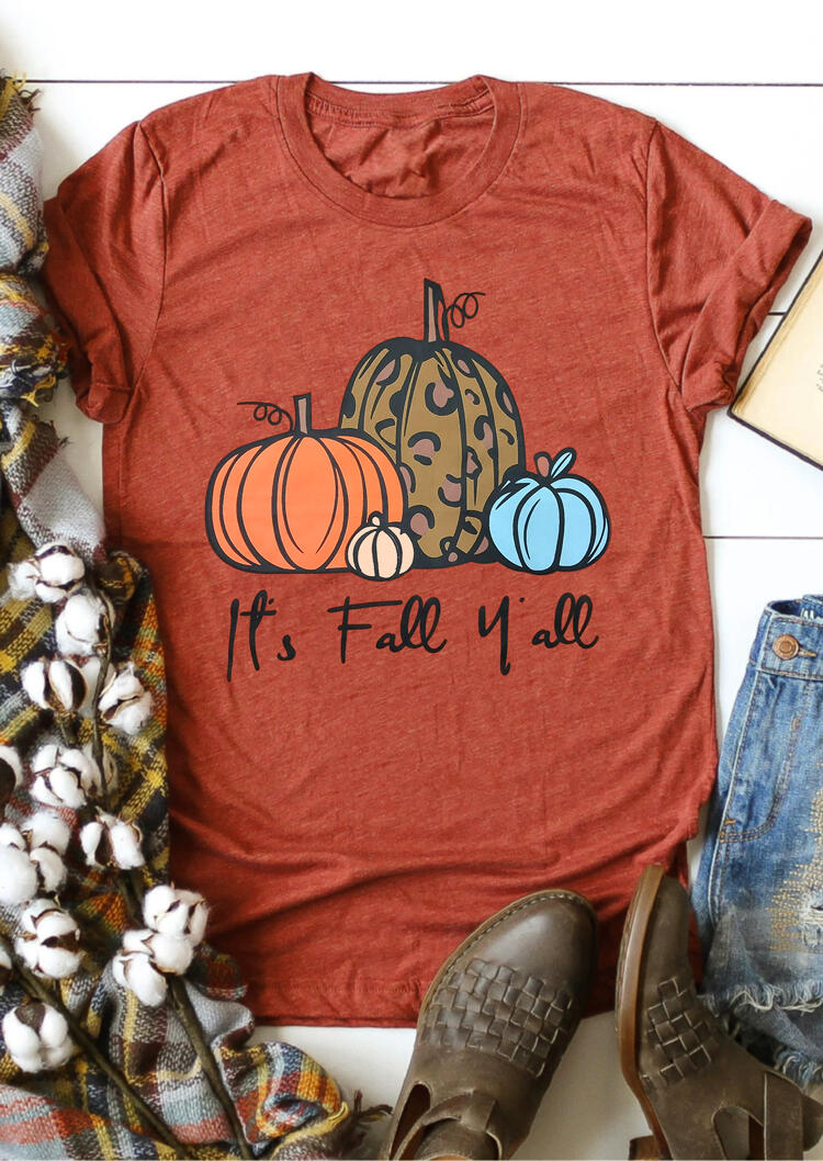 Tees T-shirts Leopard It's Fall Y'all Pumpkin T-Shirt Tee in Brick Red. Size: S,M,L,XL фото