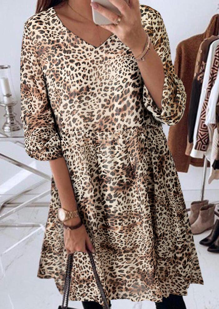 Mini_Dresses_Leopard_Printed_VNeck_Mini_Dress_without_Necklace_Size_SMLXL