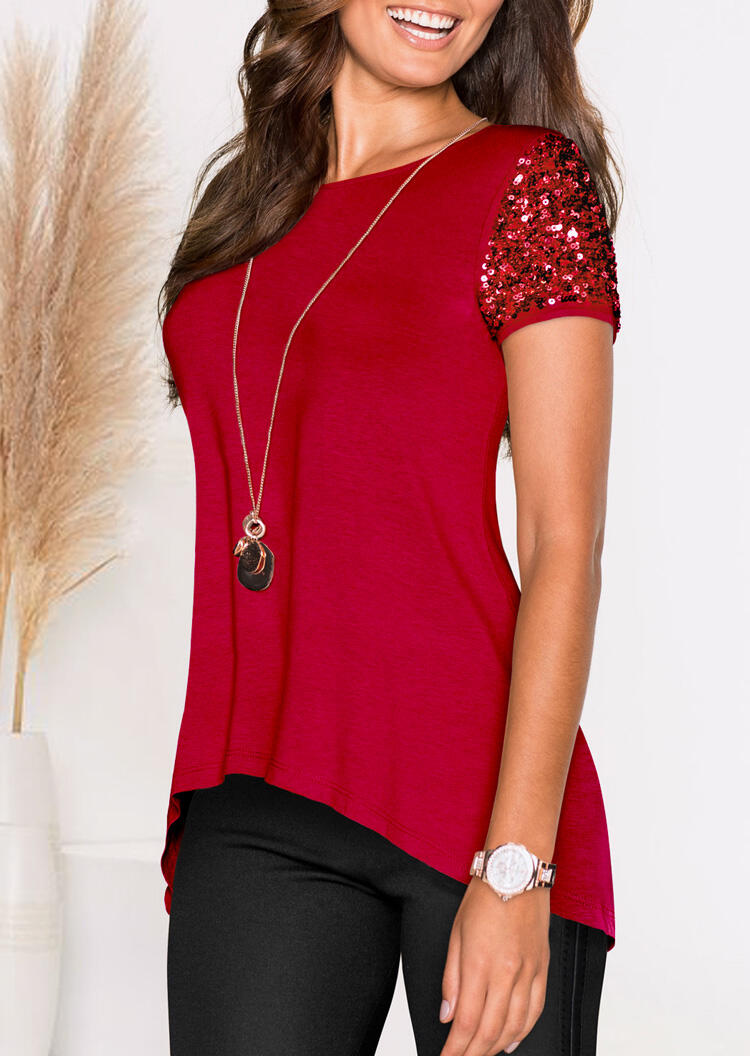 Blouses_Solid_Sequined_Splicing_Irregular_Blouse_without_Necklace__Red_Size_SMLXL