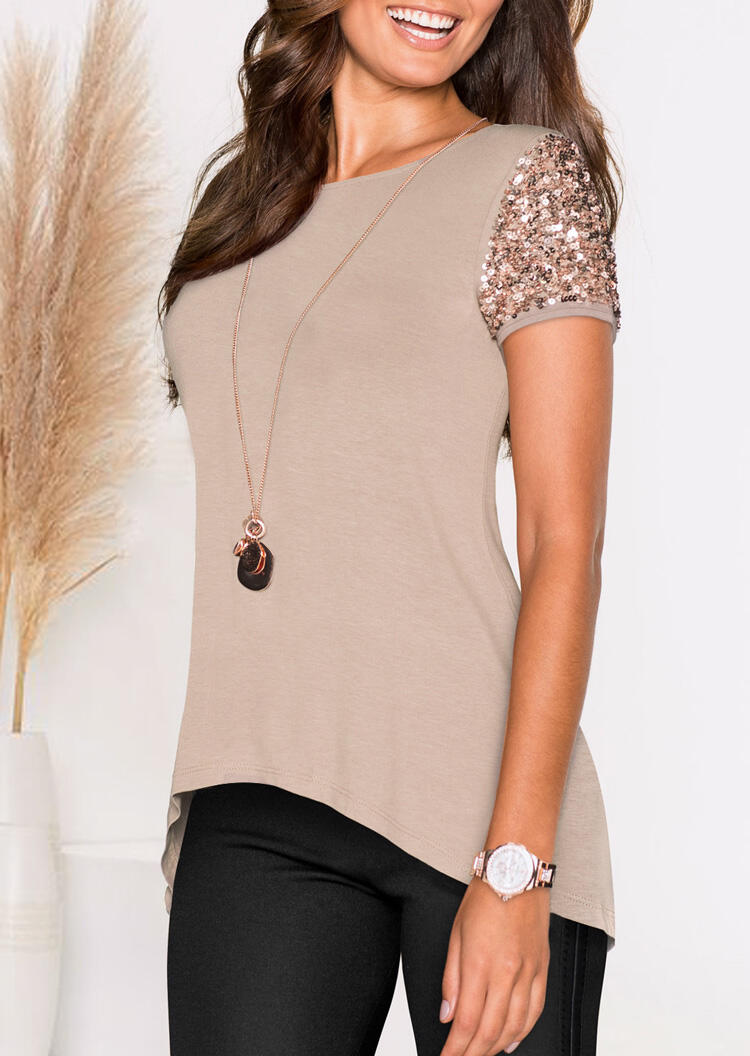 Blouses_Solid_Sequined_Splicing_Irregular_Blouse_without_Necklace__Khaki_Size_SMLXL